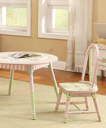 Pink Crackle Table & Chair Three-Piece Set