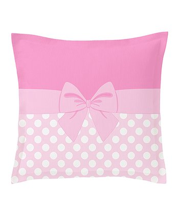 Pink & White Bow Euro Pillow Sham