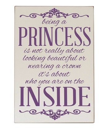 Cream & Purple 'Being a Princess' Wall Plaque
