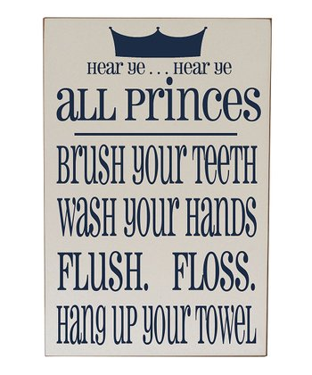Cream & Navy Prince Bathroom Rules Plaque