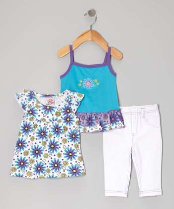 Blue Capri Pants Set