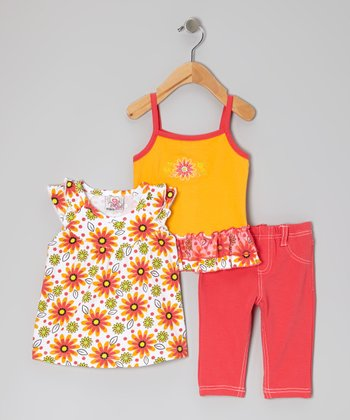 Orange Capri Pants Set