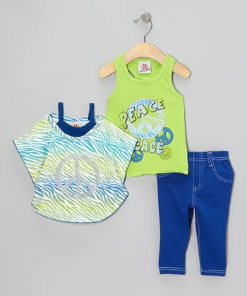 Green Peace Sign Layered Top Set - Infant & Toddler