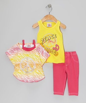 Yellow Peace Sign Layered Top Set - Infant & Toddler