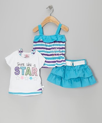 Blue Belted Tier Skirt Set - Infant & Toddler