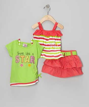 Orange Belted Tier Skirt Set - Infant & Toddler