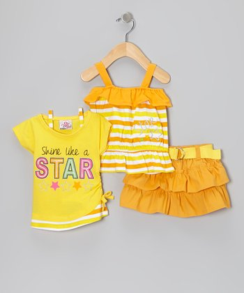 Yellow Belted Tier Skirt Set - Infant & Toddler