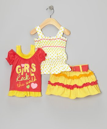 Yellow 'Girls Rock the World' Layered Top Set - Infant
