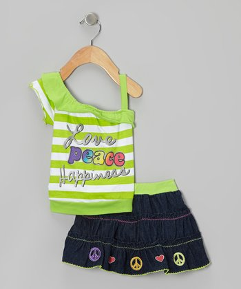 Green Stripe Asymmetrical Tank & Denim Skirt - Infant & Toddler