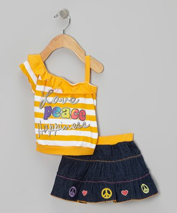 Mustard Stripe Asymmetrical Tank & Denim Skirt - Infant & Toddler