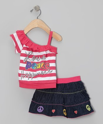 Pink Stripe Asymmetrical Tank & Denim Skirt - Infant & Toddler