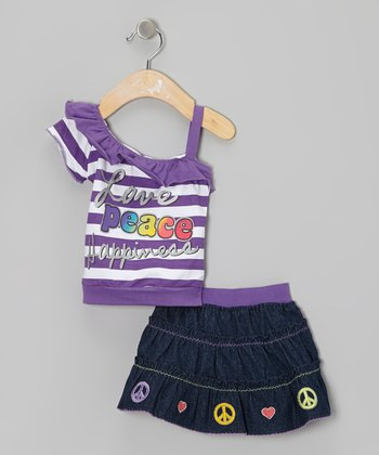 Purple Stripe Asymmetrical Tank & Denim Skirt - Infant & Toddler