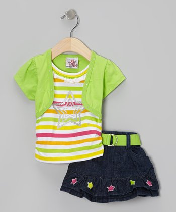 Green Stripe Layered Top & Belted Skirt - Infant & Toddler