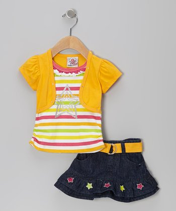 Mustard Stripe Layered Top & Belted Skirt - Infant & Toddler