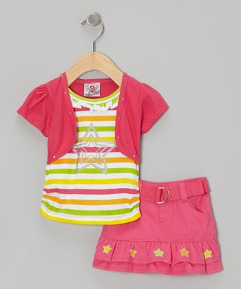 2B Real Pink Stripe Layered Top & Belted Skirt - Infant & Toddler