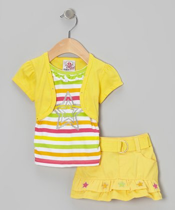 2B Real Yellow Stripe Layered Top & Belted Skirt - Infant & Toddler