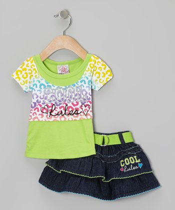 Green 'Cool Rules' Layered Top & Denim Belted Skirt - Infant & Toddler