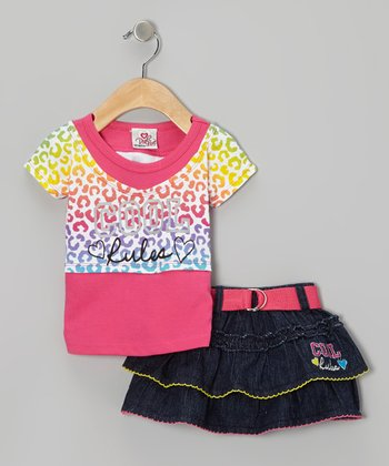 Pink 'Cool Rules' Layered Top & Denim Belted Skirt - Infant & Toddler