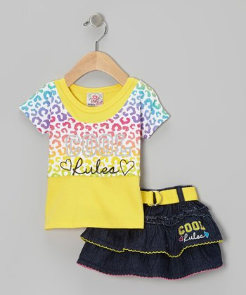 Yellow 'Cool Rules' Layered Top & Denim Belted Skirt - Infant & Toddler