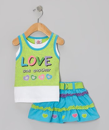 Green 'Love One Another' Layered Tank & Blue Belted Skirt - Infant & Toddler