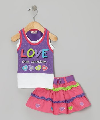 Purple 'Love One Another' Layered Tank & Pink Belted Skirt - Infant & Toddler
