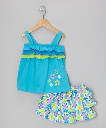 Blue Ruffle Tank & Floral Tier Skirt - Infant & Toddler