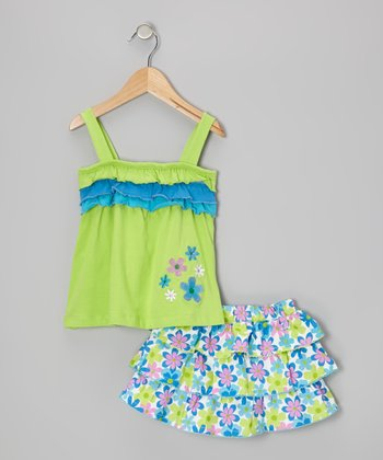 Green Ruffle Tank & Floral Tier Skirt - Infant & Toddler