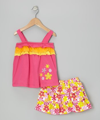 Pink Ruffle Tank & Floral Tier Skirt - Infant & Toddler