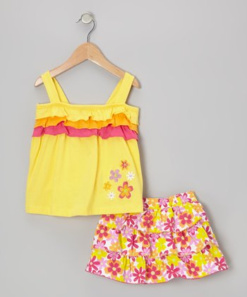 Yellow Ruffle Tank & Floral Tier Skirt - Infant & Toddler