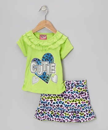 Green 'Cutie' Ruffle Top & Purple Leopard Skirt - Infant & Toddler