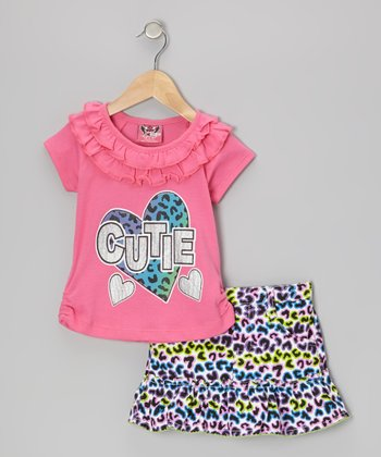 Pink 'Cutie' Ruffle Top & Purple Leopard Skirt - Infant & Toddler