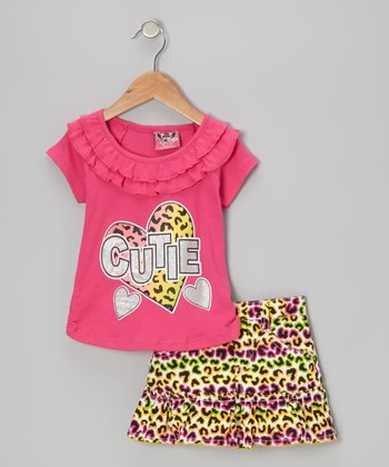 Red 'Cutie' Ruffle Top & Neon Leopard Skirt - Infant & Toddler