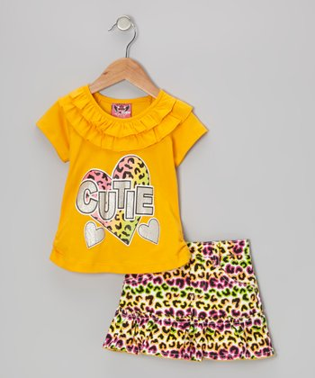 Yellow 'Cutie' Ruffle Top & Neon Leopard Skirt - Infant & Toddler