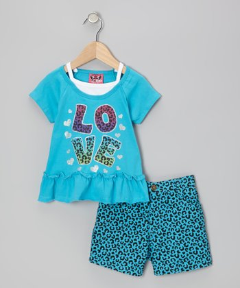 Blue 'Love' Top & Leopard Shorts - Infant & Toddler