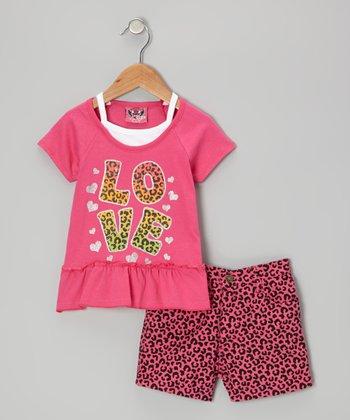 Pink 'Love' Top & Leopard Shorts - Infant & Toddler