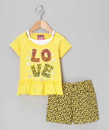 Yellow 'Love' Top & Leopard Shorts - Infant & Toddler