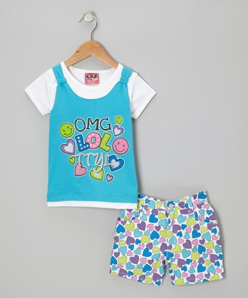 Blue Layered Top & Heart Shorts - Infant & Toddler