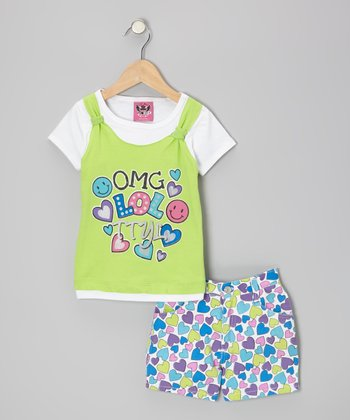 Green Layered Top & Blue Heart Shorts - Infant & Toddler