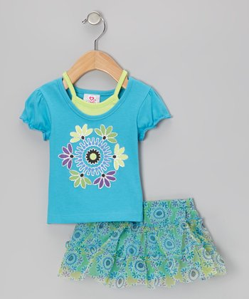 Blue Layered Top & Green Floral Skirt - Infant, Toddler & Girls