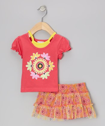 Coral Layered Top & Yellow Floral Skirt - Infant, Toddler & Girls