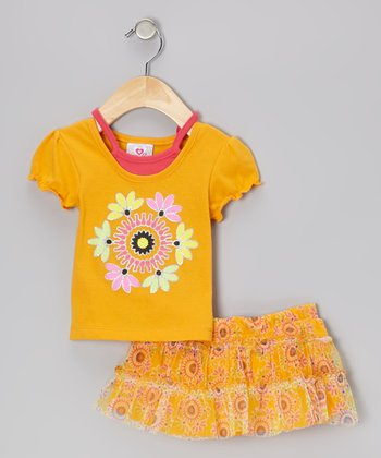 Mustard Layered Top & Floral Skirt - Infant, Toddler & Girls