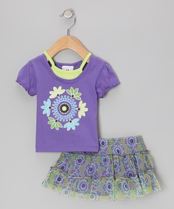 Purple Layered Top & Green Floral Skirt - Infant, Toddler & Girls