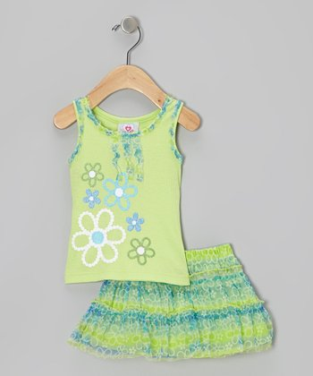 Green Ruffle Tank & Floral Skirt - Infant