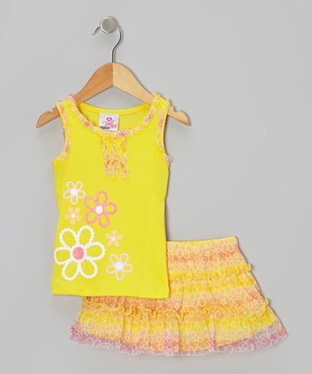 Yellow Ruffle Tank & Floral Skirt - Infant