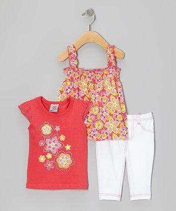 Orange Angel-Sleeve Top Set - Infant & Toddler