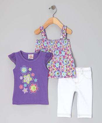 Purple Angel-Sleeve Top Set - Infant & Toddler