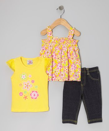 Yellow Angel-Sleeve Top Set - Infant & Toddler