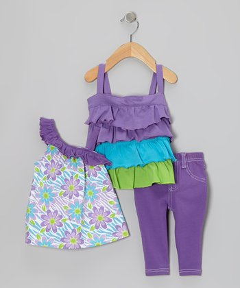 Purple Tier Tank Set - Infant & Toddler