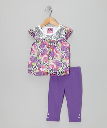 Purple Floral Angel-Sleeve Dress & Pants - Infant, Toddler & Girl
