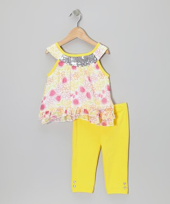2B Real Yellow Floral Yoke Tunic & Pants - Infant, Toddler & Girls